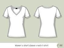 Les femmes court-circuitent le T-shirt de v-cou de douille Calibre pour la conception, facilement editable par des couches Images libres de droits