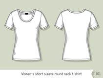 Les femmes court-circuitent le T-shirt rond de cou de douille Calibre pour la conception, facilement editable par des couches Images libres de droits