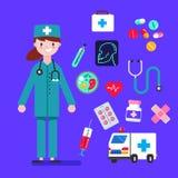 Les femmes de caractère de docteur conçoivent avec les icônes médicales réglées Éléments de conception pour infographic Illustrat images libres de droits