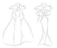 Les femmes de croquis de mode modèlent dans la robe d'été de cru Photographie stock