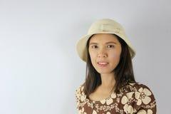 Les femmes enceintes d'Asiatique de mode tirent le portrait du brun de port Image stock