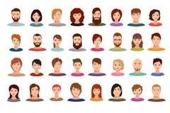 Les femmes et les gens d'affaires d'hommes team le mâle d'avatars de vecteur et les portraits femelles de profil d'isolement illustration libre de droits