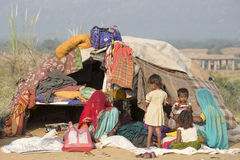 Les femmes et les enfants indiens dans le chameau Mela de Pushkar l'Inde Photographie stock