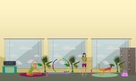Les femmes font l'exercice et le yoga au centre de fitness Illustration intérieure de vecteur de gymnase Images libres de droits
