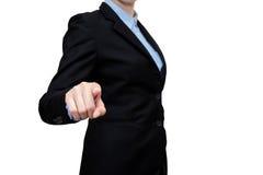 Les femmes futées d'affaires montrent le doigt de contact sur le fond blanc Photographie stock libre de droits