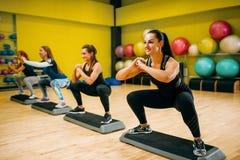 Les femmes groupent sur la séance d'entraînement aérobie d'étape Photographie stock libre de droits