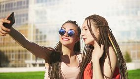 Les femmes heureuses avec redoute de s'asseoir sur l'herbe en parc d'été et selfies parlants Jeunes amis parlant et prenant des p banque de vidéos