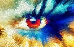 Les femmes observe le lancement, effet de couleur, collage de peinture, effet bleu de polygone de maquillage illustration libre de droits