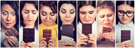 Les femmes ont fatigué des restrictions de régime implorant le chocolat de bonbons Image libre de droits