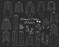 Les femmes s vêtx la collection Équipement d'hiver Illustration de croquis de vecteur Image stock