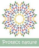 Les feuilles colorées, protègent la nature Illustration de vecteur illustration de vecteur