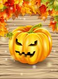 Les feuilles d'automne sur le fond des conseils en bois, érable part, caractère de potiron Illustration de vecteur Photographie stock libre de droits