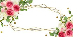Les feuilles d'eucalyptus, le freesia et la rose de rose fleurit dans l'arran faisant le coin illustration de vecteur