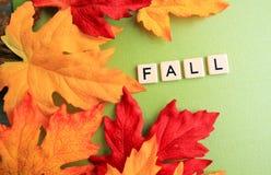 Les feuilles de chute entourent l'automne de mot Image libre de droits