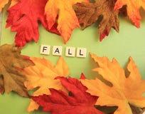 Les feuilles de chute entourent l'automne de mot Photo stock