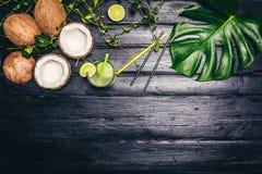 Les feuilles de vert de Monstera plantent l'élevage dans sauvage, l'usine tropicale de forêt sur le fond noir Coctail de chaux av Photo stock