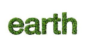 Les feuilles de vert orthographient la terre de mot Image libre de droits