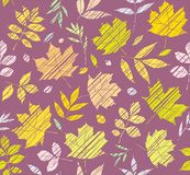 Les feuilles des arbres, modèle sans couture, pourpre, couleur, ombrage, vecteur Photo stock