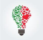 Les feuilles et les coeurs verts dans l'ampoule forment, concept d'eco, symbole de pensée, jour d'environnement du monde illustration libre de droits