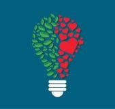 Les feuilles et les coeurs verts dans l'ampoule forment, concept d'eco, symbole de pensée, jour d'environnement du monde illustration stock