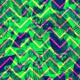 Les feuilles modèlent sur l'ornement de zigzag Fond vert de feuillage Illustration d'aquarelle Images libres de droits