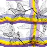Les feuilles noircissent des découpes, fond à la mode moderne pourpre lilas jaune-orange lumineux d'arc-en-ciel modèle sans coutu Photographie stock