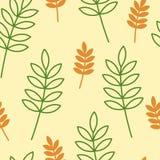 Les feuilles oranges et vertes dirigent le modèle sans couture avec le fond jaune illustration de vecteur