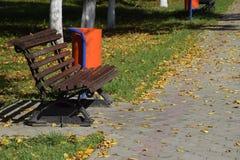 Les feuilles sont jaunes au sol Automne de lame d'automne Photographie stock libre de droits
