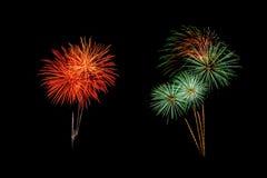 Les feux d'artifice abstraits allument le ciel foncé Photo stock