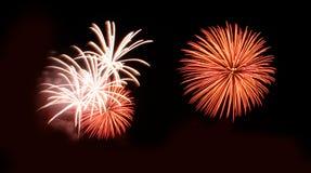 Les feux d'artifice abstraits s'allument dans le ciel la nuit Photo stock
