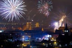 Les feux d'artifice affichent à Danzig, Pologne Images stock