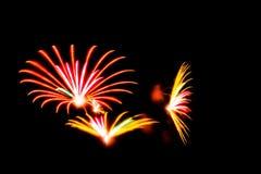 Les feux d'artifice avec des couleurs oranges, roses et jaunes allument le ciel Photo libre de droits