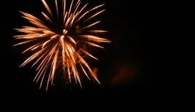 Les feux d'artifice brillants d'or blanc illuminent le ciel noir Image libre de droits
