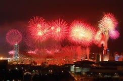 les feux d'artifice de cerem de Pékin mettent en valeur s'ouvrir de Jeux Olympiques Photographie stock libre de droits