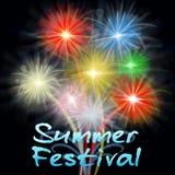 Les feux d'artifice de festival d'été montre la pyrotechnie de explosion de fiesta illustration de vecteur