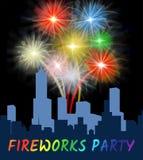 Les feux d'artifice font la fête montre la pyrotechnie de explosion dans la ville illustration stock