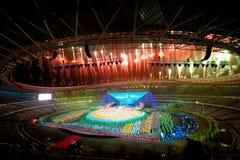 Les feux d'artifice magnifiques : la septième répétition nationale de cérémonie d'ouverture de jeux de ville Photos libres de droits