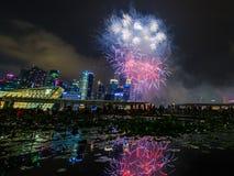 Les feux d'artifice montrent pendant la prévision 2014 du défilé de jour national (NDP) le 2 août 2014 Images stock