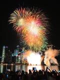 Les feux d'artifice montrent pendant le défilé de jour national (NDP) 2013 Images stock