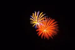 Les feux d'artifice oranges, jaunes, bleus et roses brillent lumineux dans le ciel Photos libres de droits