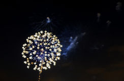 Les feux d'artifice verts pourpres bleus étonnants de célébration ont localisé le côté droit au-dessus du ciel nocturne, Jour de  Photographie stock libre de droits