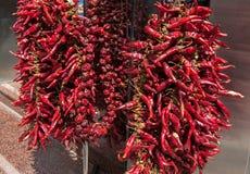 Les ficelles ont séché Chili Peppers d'un rouge ardent accrochant dehors Image stock