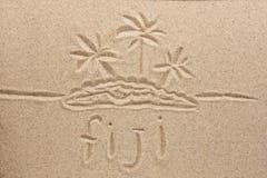 Les Fidji manuscrits en sable pour naturel, symbole photo stock