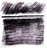 Les figures tirées sont les courses orientables de brosse avec un trait horizontal forme de Th avec des lignes photographie stock libre de droits