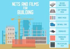 Les filets, les mailles et les films de construction dirigent à plat la bannière illustration libre de droits