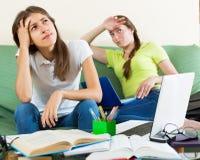 Les filles adolescentes d'étudiant étudient à la maison Photographie stock libre de droits