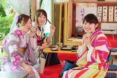 Les filles assez jeunes avec le kimono japonais traditionnel coloré mangeant des boules de riz embroche dans un Japonais photo stock