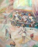 Les filles, s'attendant à des danses Illustration de Vecteur