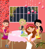 les filles autoguident la réception Image libre de droits