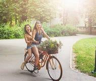 Les filles chics de boho heureux montent ensemble sur des bicyclettes en parc Images libres de droits
